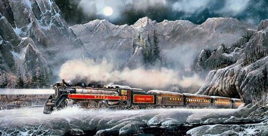 Train in the snowy mountains
